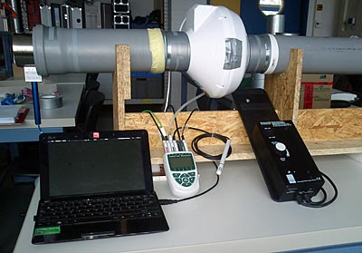 Prüfstand zur Messung des Luftwiderstandes im Außenwandventil